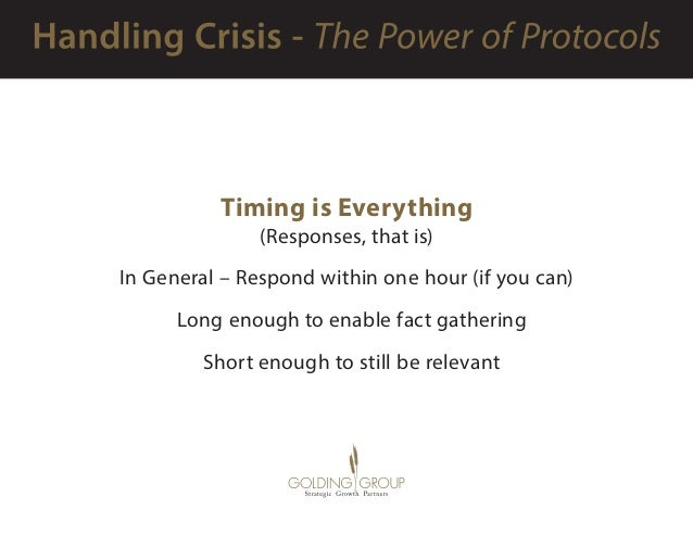 Timing is Everything (Responses, that is) In General – Respond within one hour (if you can)  Long enough to enable fact ...