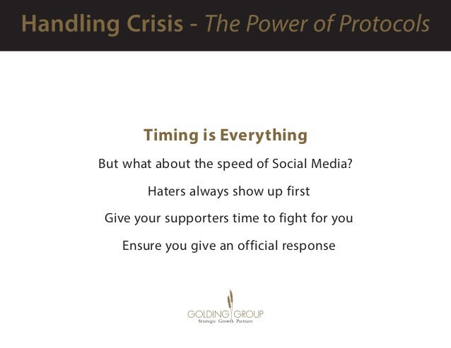 Timing is Everything But what about the speed of Social Media?  Haters always show up first  Give your supporters time ...