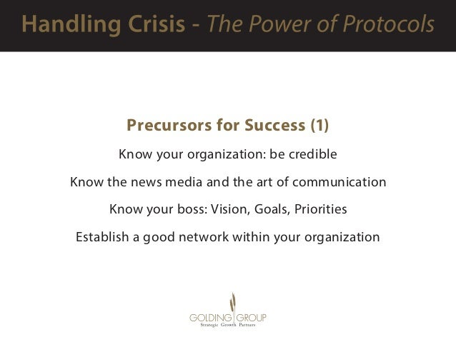 Precursors for Success (1) Know your organization: be credible Know the news media and the art of communication Know your ...