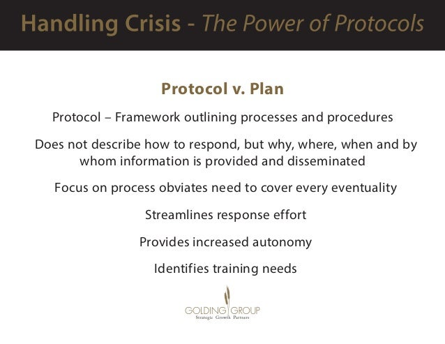 Protocol v. Plan Protocol – Framework outlining processes and procedures  Does not describe how to respond, but why, wher...