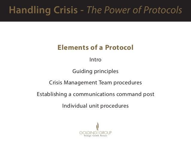 Elements of a Protocol Intro Guiding principles Crisis Management Team procedures Establishing a communications command p...