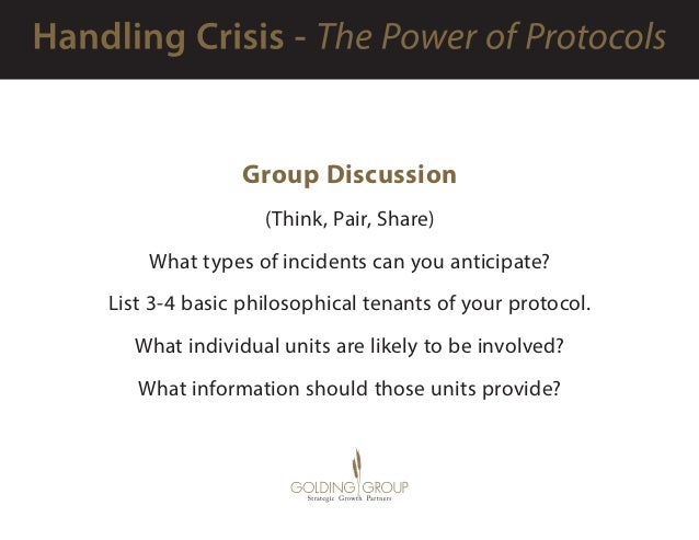 Group Discussion (Think, Pair, Share) What types of incidents can you anticipate? List 3-4 basic philosophical tenants of...