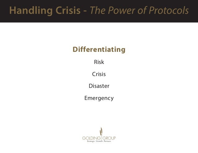 Differentiating Risk Crisis Disaster Emergency