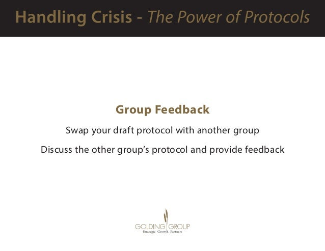 Group Feedback Swap your draft protocol with another group Discuss the other group's protocol and provide feedback