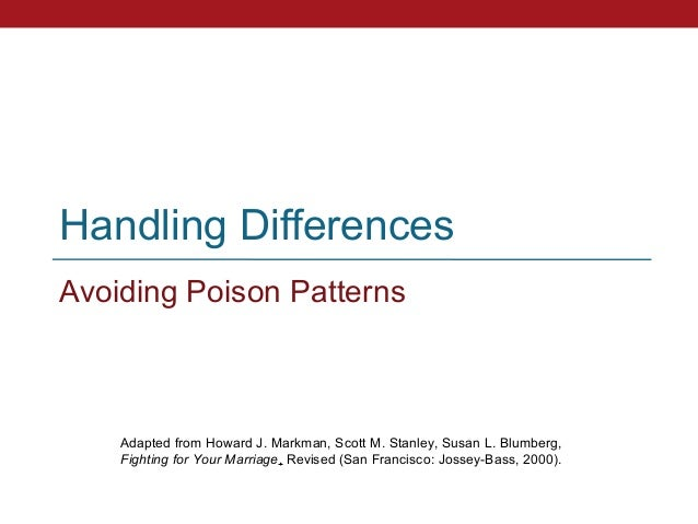 Handling DifferencesAvoiding Poison Patterns    Adapted from Howard J. Markman, Scott M. Stanley, Susan L. Blumberg,    Fi...