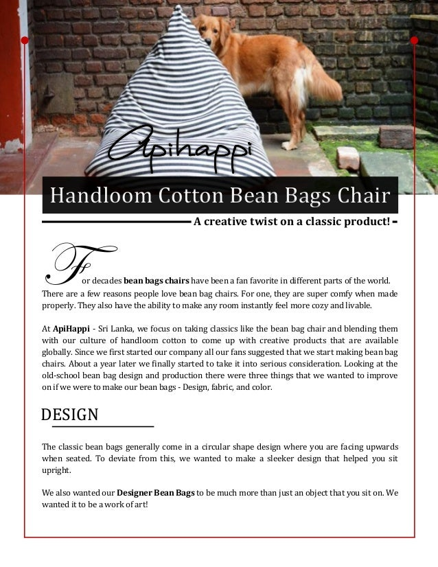 Phenomenal Handloom Cotton Bean Bags Chair A Creative Twist On A Machost Co Dining Chair Design Ideas Machostcouk