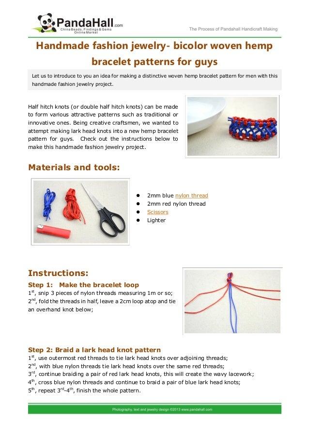 Bicolor Woven Hemp Bracelet Patterns For Guys