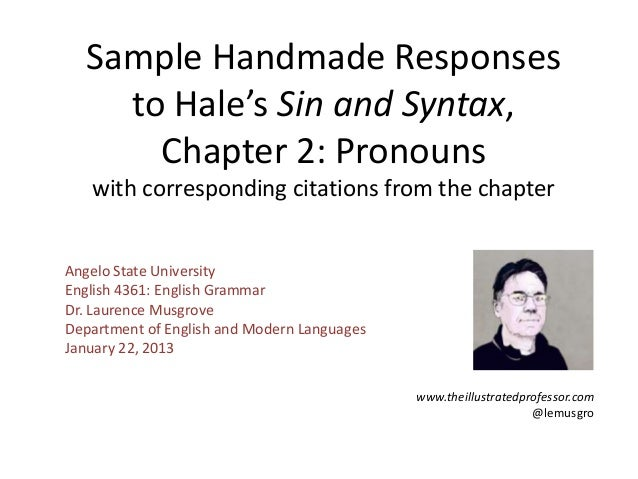 Sample Handmade Responses    to Hale's Sin and Syntax,      Chapter 2: Pronouns   with corresponding citations from the ch...