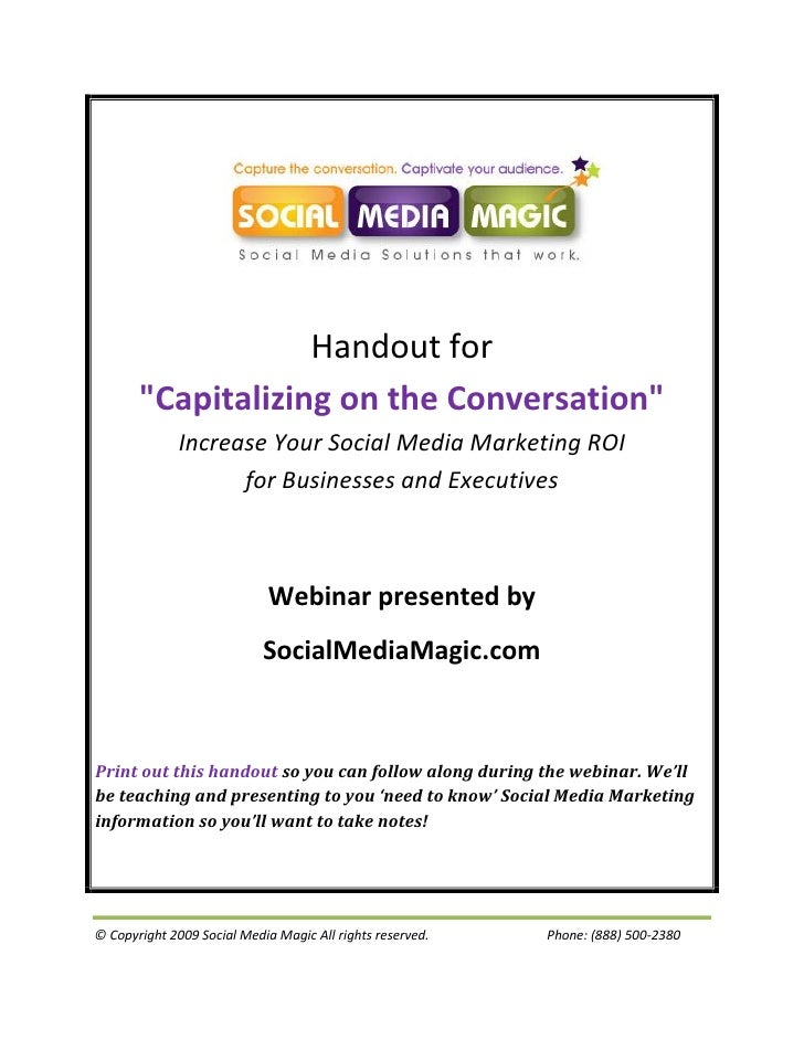 """Handout for        """"Capitalizing on the Conversation""""               Increase Your Social Media Marketing ROI              ..."""