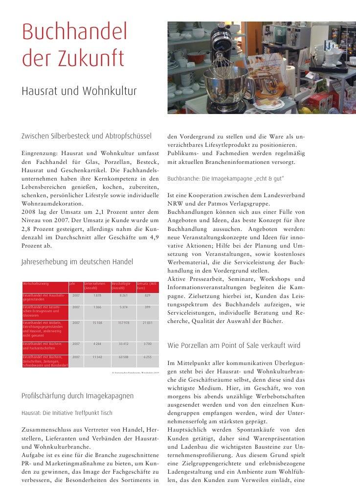 Buchhandel der Zukunft Hausrat und Wohnkultur   Zwischen Silberbesteck und Abtropfschüssel                                ...