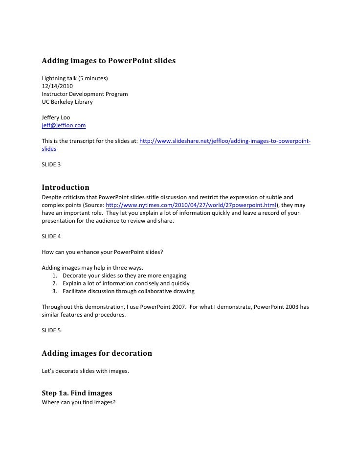 Adding images to PowerPoint slides<br />Lightning talk (5 minutes)<br />12/14/2010<br />Instructor Development Program<br ...