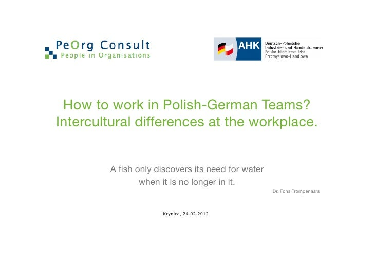How to work in Polish-German Teams?Intercultural differences at the workplace.        A fish only discovers its need for wa...