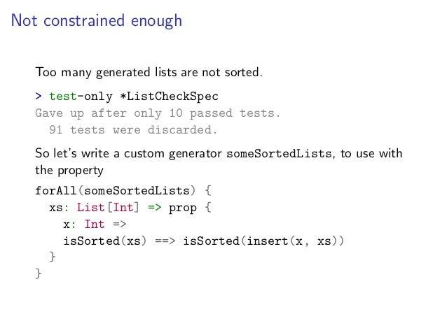 Beyond xUnit example-based testing: property-based testing with Scala…
