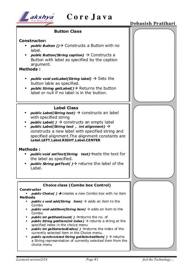 Core Java  Debasish Pratihari  Button Class Constructor:  public Button () Constructs a Button with no label.  public B...