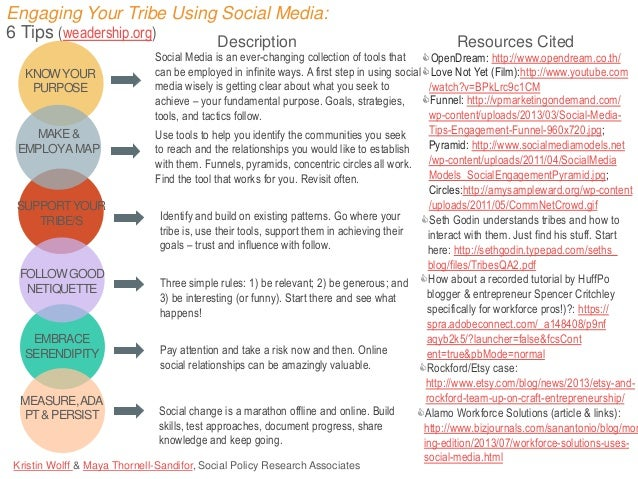 Engaging Your Tribe Using Social Media: 6 Tips (weadership.org) Description KNOW YOUR PURPOSE  MAKE & EMPLOY A MAP  SUPPOR...
