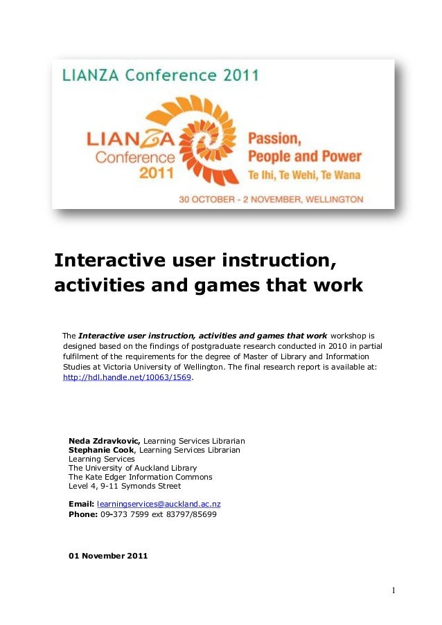 1 Interactive user instruction, activities and games that work The Interactive user instruction, activities and games that...