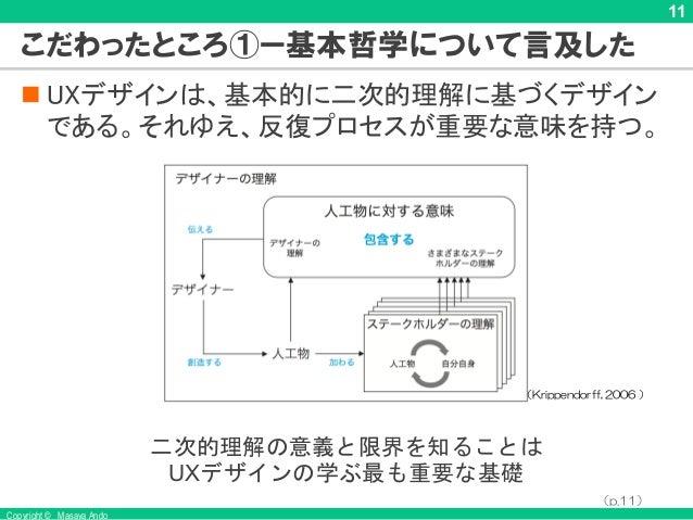 Copyright © Masaya Ando 11 こだわったところ①ー基本哲学について言及した n UXデザインは、基本的に二次的理解に基づくデザイン である。それゆえ、反復プロセスが重要な意味を持つ。 (Krippendorff, 200...
