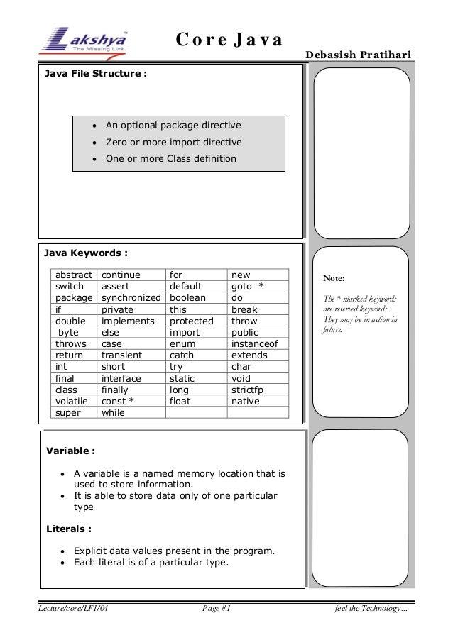 Core Java  Debasish Pratihari  Java File Structure :    An optional package directive    Zero or more import directive  ...