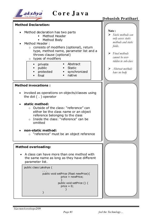 Core Java  Debasish Pratihari  Method Declaration:    Method declaration has two parts  Method Header  Method Body Met...