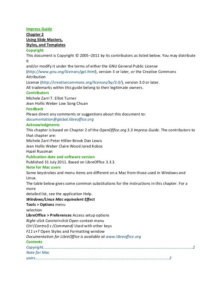 Impress GuideChapter 2Using Slide Masters,Styles, and TemplatesCopyrightThis document is Copyright © 2005–2011 by its cont...