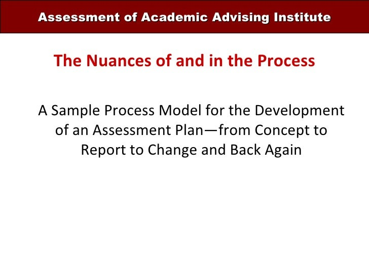 Assessment of Academic Advising Institute The Nuances of and in the Process A Sample Process Model for the Development of ...