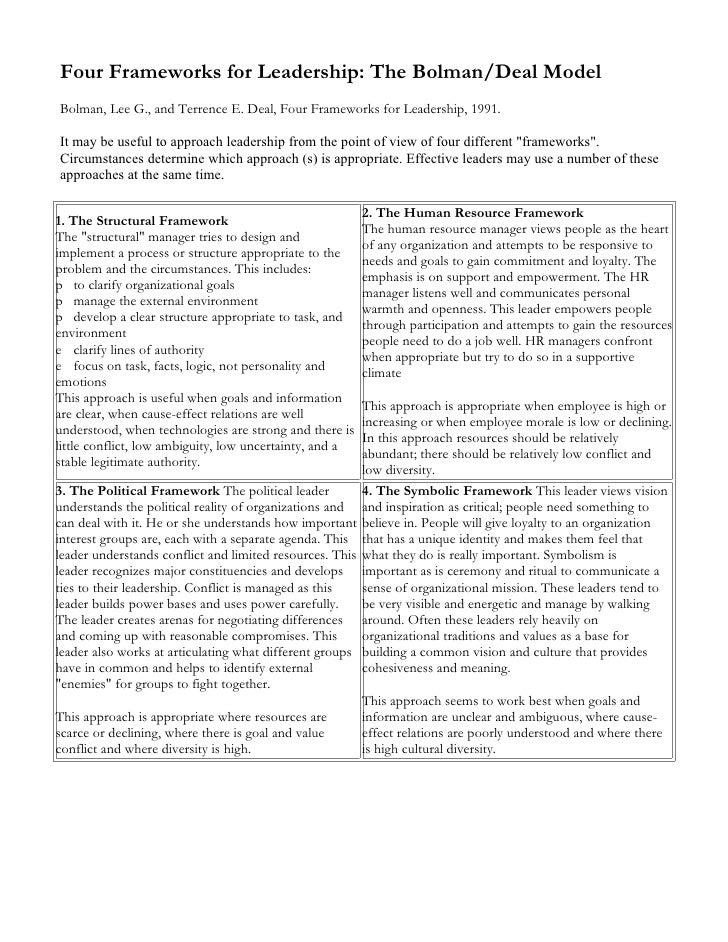 Four Frameworks for Leadership: The Bolman/Deal Model Bolman, Lee G., and Terrence E. Deal, Four Frameworks for Leadership...