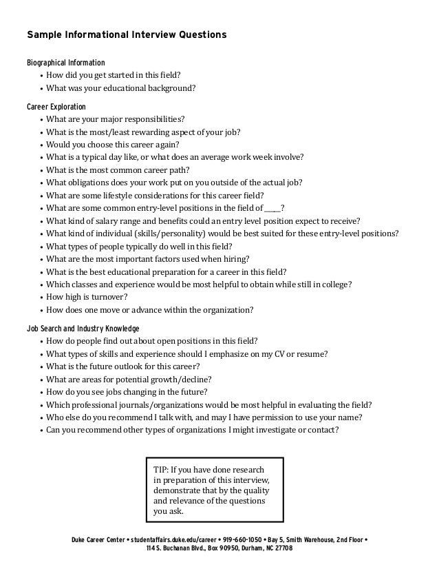 Amazing ... 2. Sample Informational Interview Questions ...