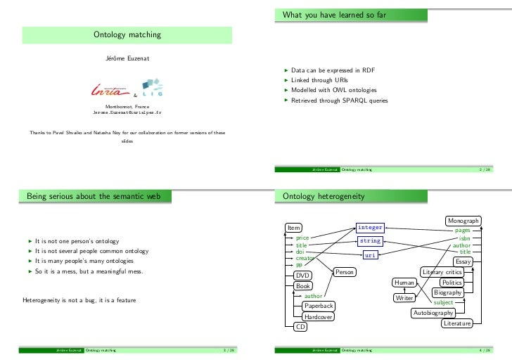 What you have learned so far                                   Ontology matching                                         J...