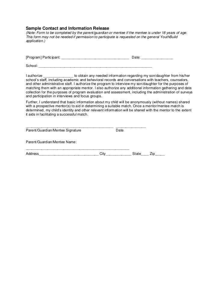 Sample Contact and Information Release(Note: Form to be completed by the parent/guardian or mentee if the mentee is under ...