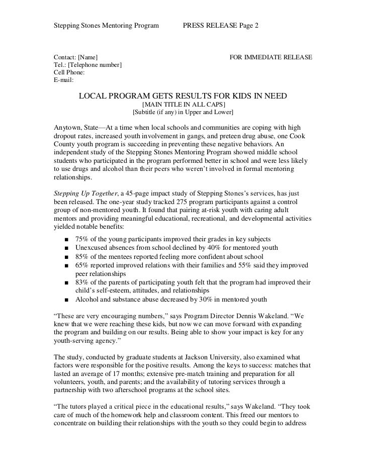 Stepping Stones Mentoring Program             PRESS RELEASE Page 2Contact: [Name]                                         ...