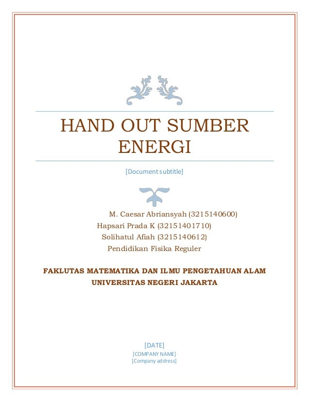 Handout Sumber Energi