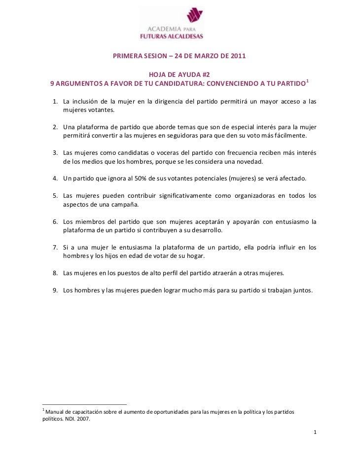 PRIMERA SESION – 24 DE MARZO DE 2011<br />HOJA DE AYUDA #2<br />9 ARGUMENTOS A FAVOR DE TU CANDIDATURA: CONVENCIENDO A TU ...