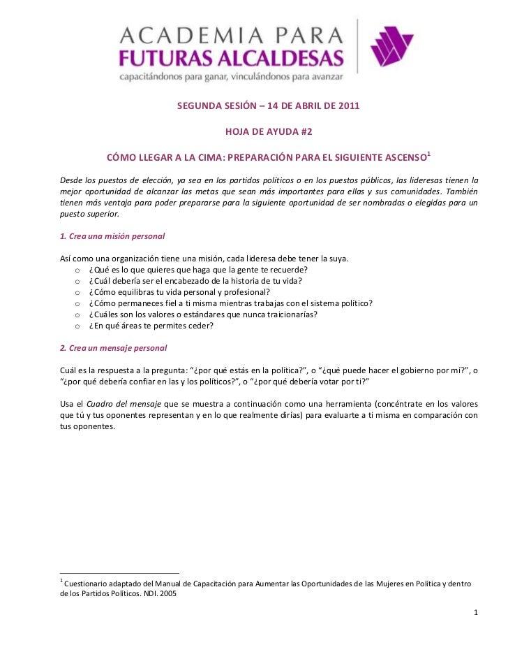 SEGUNDA SESIÓN – 14 DE ABRIL DE 2011<br />HOJA DE AYUDA #2<br />CÓMO LLEGAR A LA CIMA: PREPARACIÓN PARA EL SIGUIENTE ASCEN...