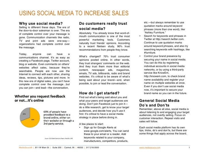 USING SOCIAL MEDIA TO INCREASE SALES .