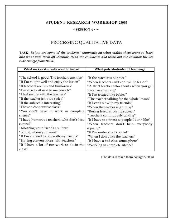 STUDENT RESEARCH WORKSHOP 2009                                    - SESSION 4 - –                        PROCESSING QUALIT...