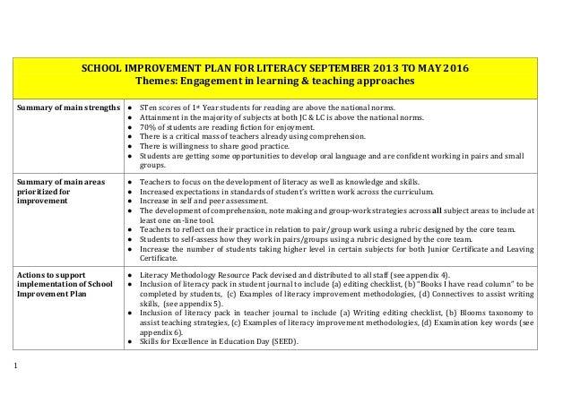 Handout 4 SSE case study school (school improvement plan for literacy)
