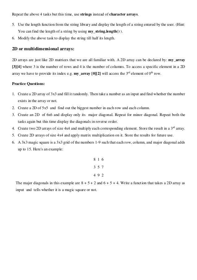 Handout # 5 2 d arrays + character arrays c++