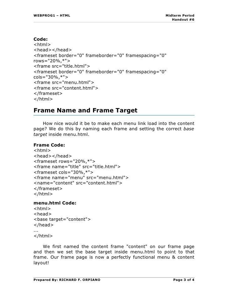 Handout6 html frames