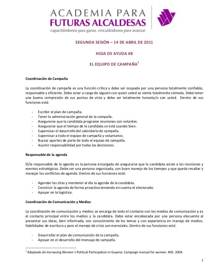 SEGUNDA SESIÓN – 14 DE ABRIL DE 2011<br />HOJA DE AYUDA #8<br />EL EQUIPO DE CAMPAÑA<br />Coordinación de Campaña<br />La ...