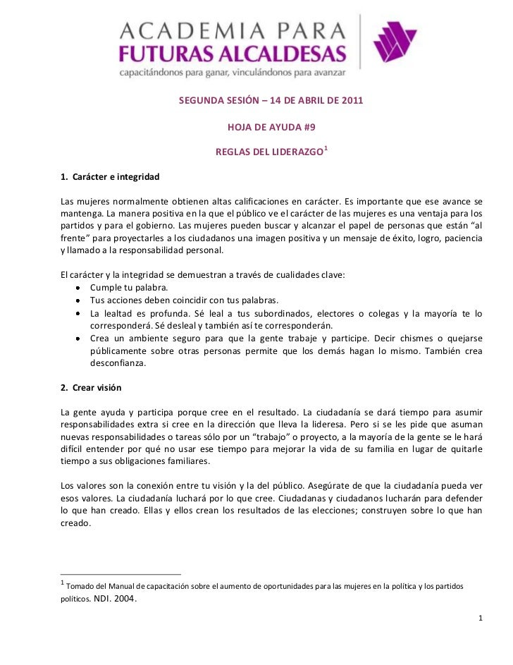 SEGUNDA SESIÓN – 14 DE ABRIL DE 2011<br />HOJA DE AYUDA #9<br />REGLAS DEL LIDERAZGO<br />Carácter e integridad <br />Las ...