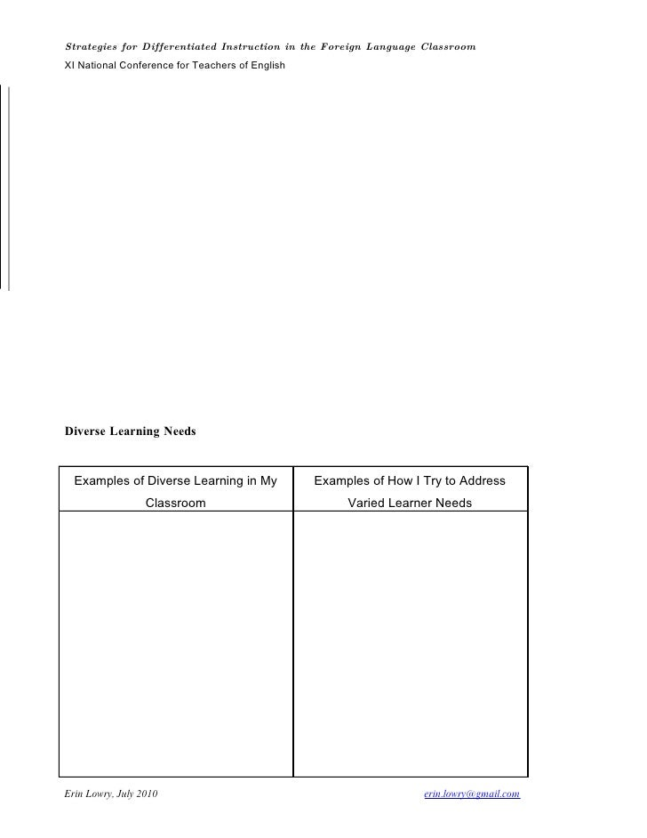 Handout Differentiated Instruction