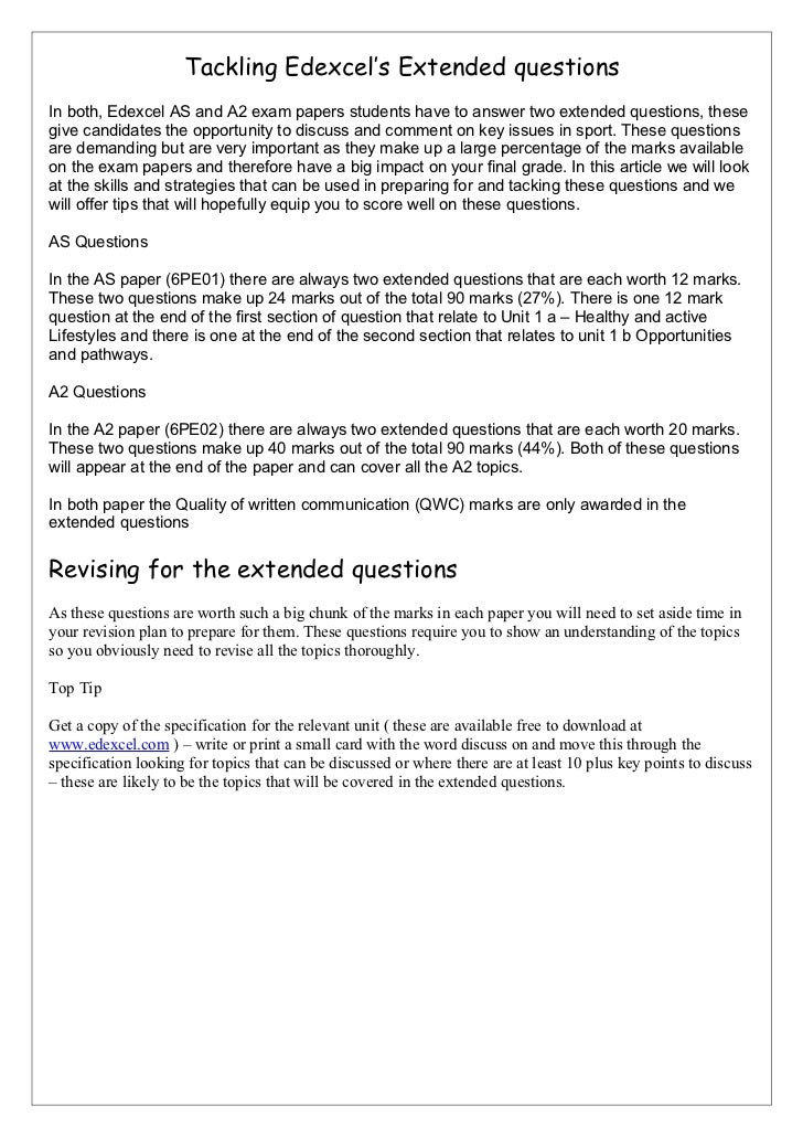 Hand out for extended questions