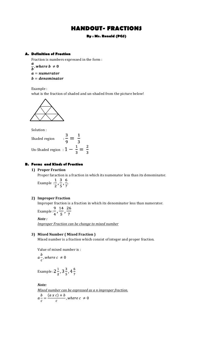 HANDOUT- FRACTIONS <br />By : Mr. Ronald (PGS)<br /><ul><li>Definition of Fraction