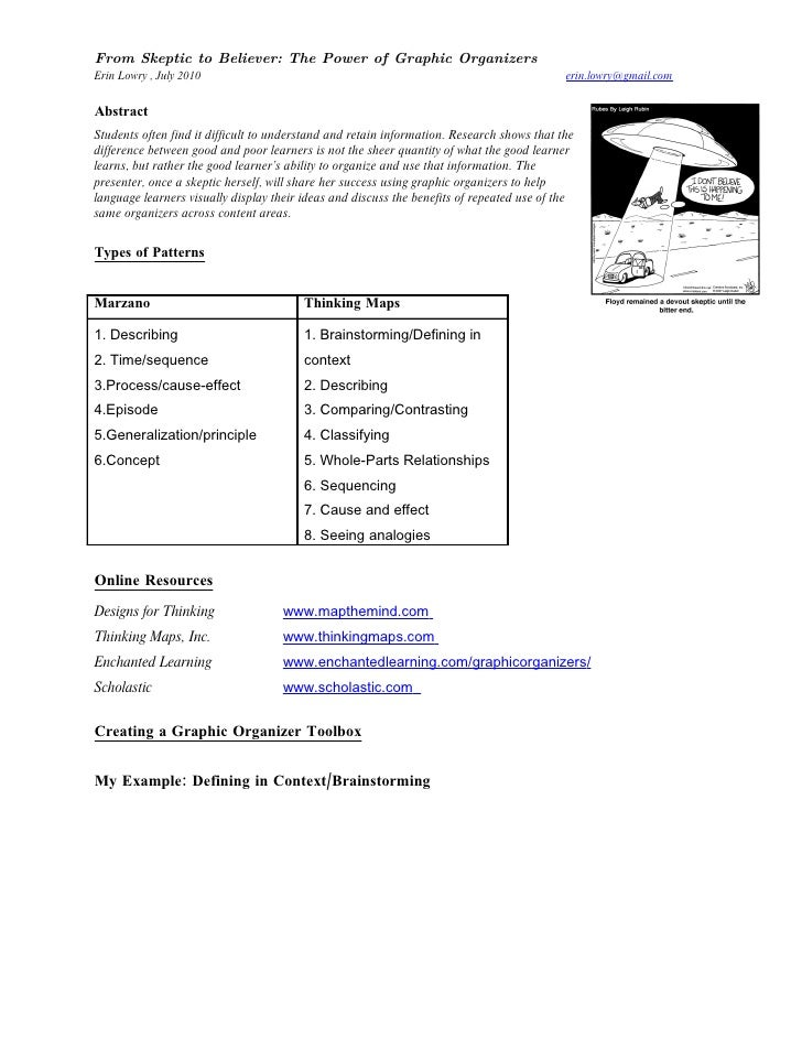 From Skeptic to Believer: The Power of Graphic Organizers Erin Lowry , July 2010                                          ...