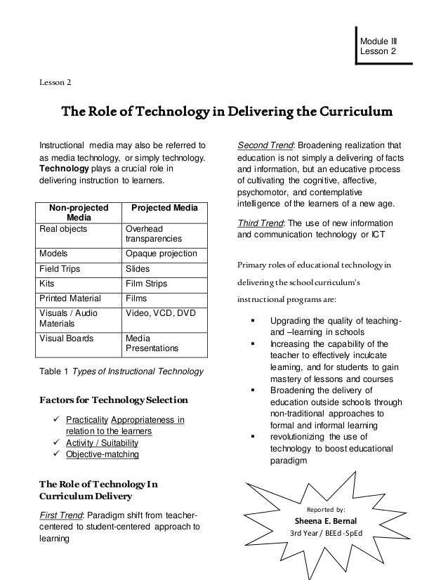hand out in lesson the role of technology in delivering the curricu  module iii lesson 2 reported by sheena e bernal 3rd year beed