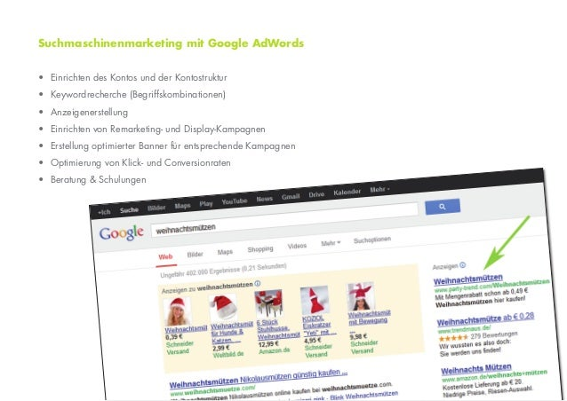 Suchmaschinenmarketing mit Google AdWords• Einrichten des Kontos und der Kontostruktur• Keywordrecherche (Begriffskombinat...