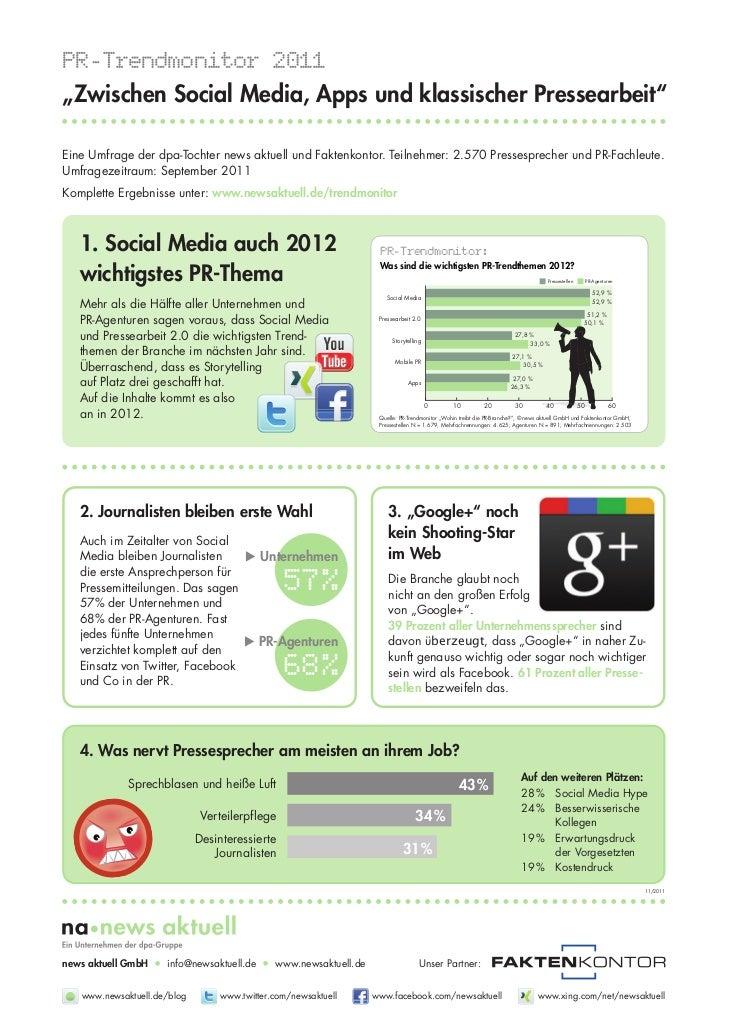 """PR-Trendmonitor 2011 """"Zwischen Social Media, Apps und klassischer Pressearbeit""""  Eine Umfrage der dpa-Tochter news aktuell..."""