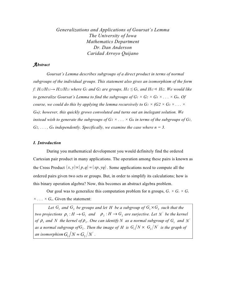 Generalizations and Applications of Goursat's Lemma                              The University of Iowa                   ...