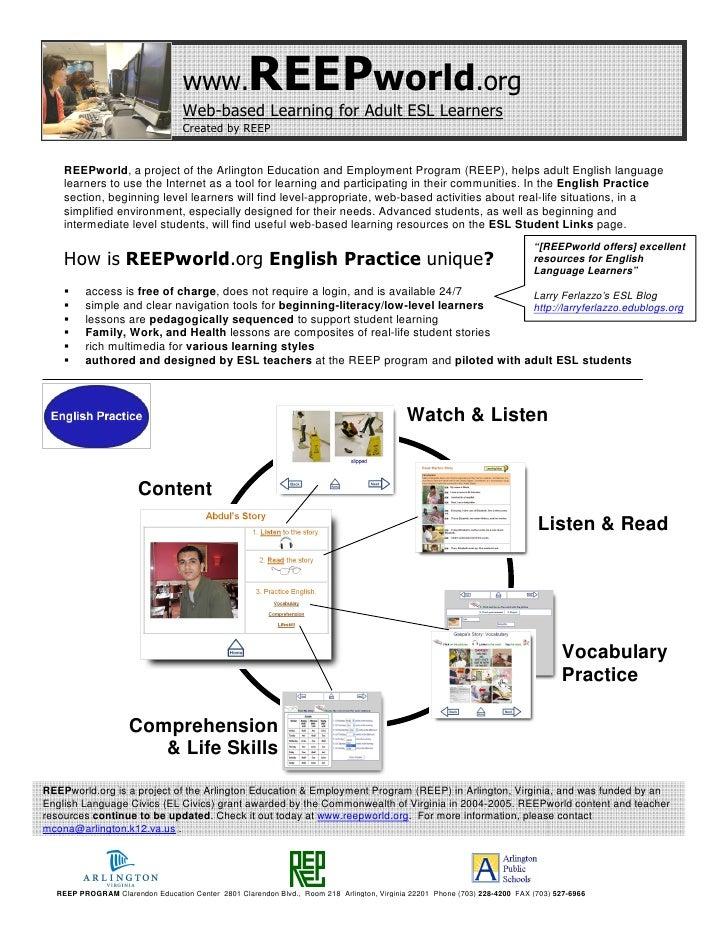 www.             REEPworld.org                                   Web-based Learning for Adult ESL Learners                ...