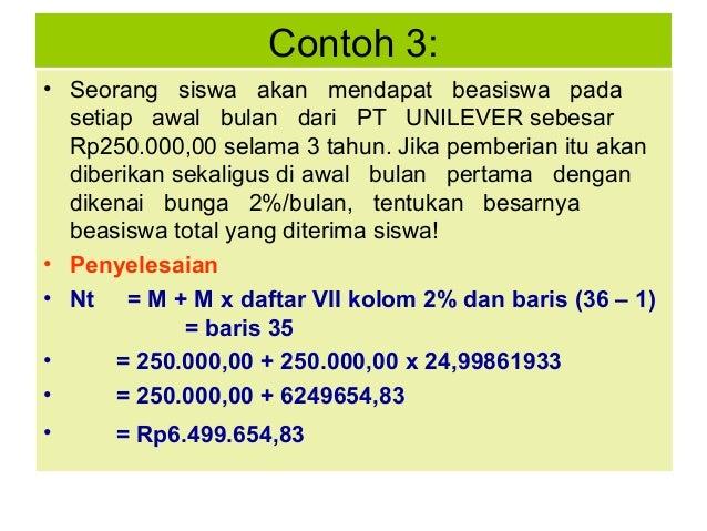 Contoh 3: • Seorang siswa akan mendapat beasiswa pada setiap awal bulan dari PT UNILEVER sebesar Rp250.000,00 selama 3 tah...